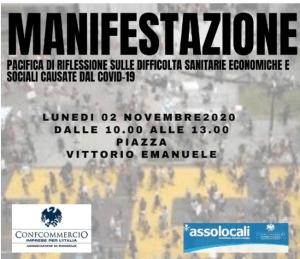 Assolocali manifesta a Bisceglie, il 2 novembre in piazza Vittorio Emanuele