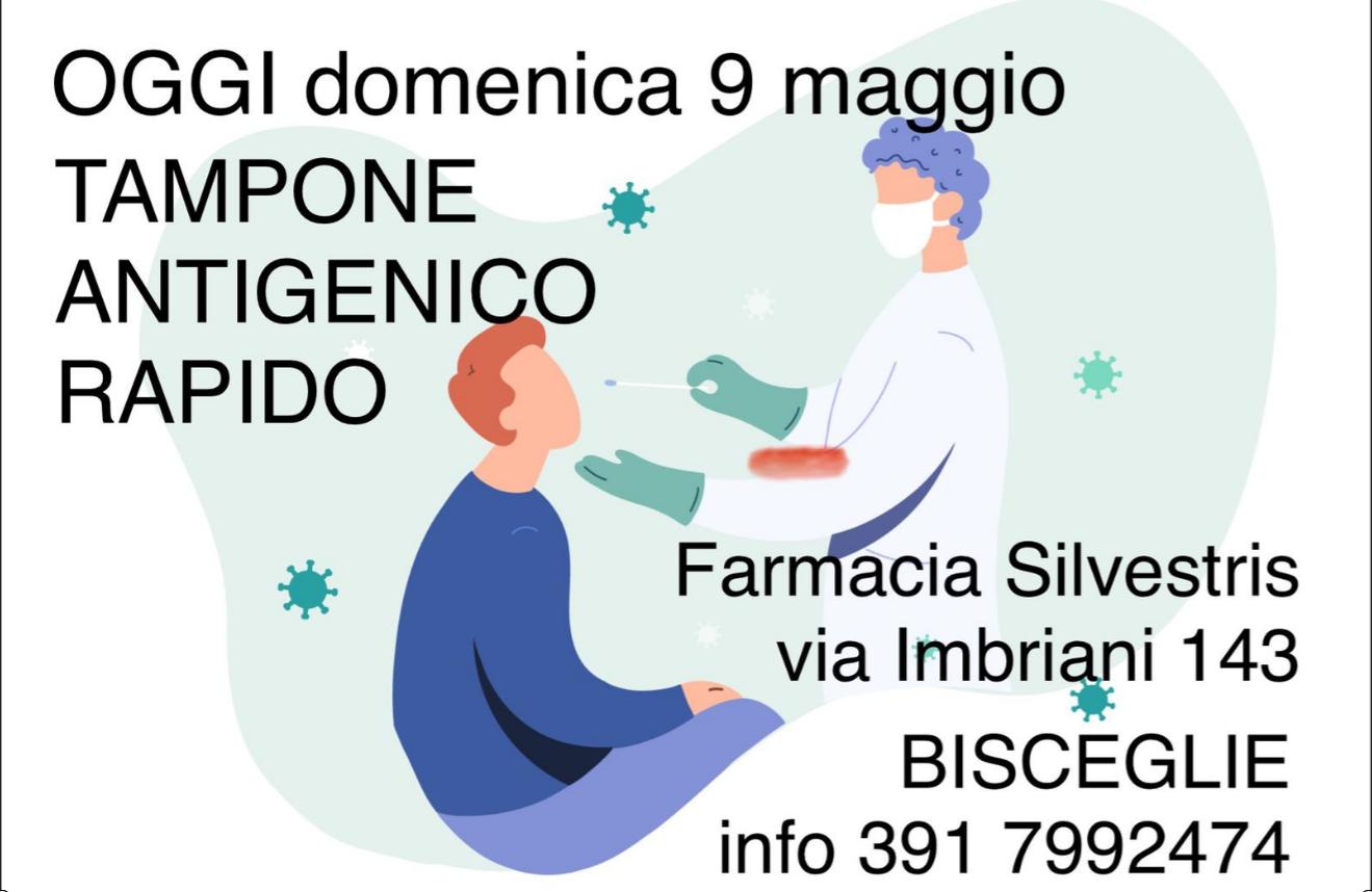 Farmacia Silvestris, tampone antigenico rapido anche domenica 9 maggio