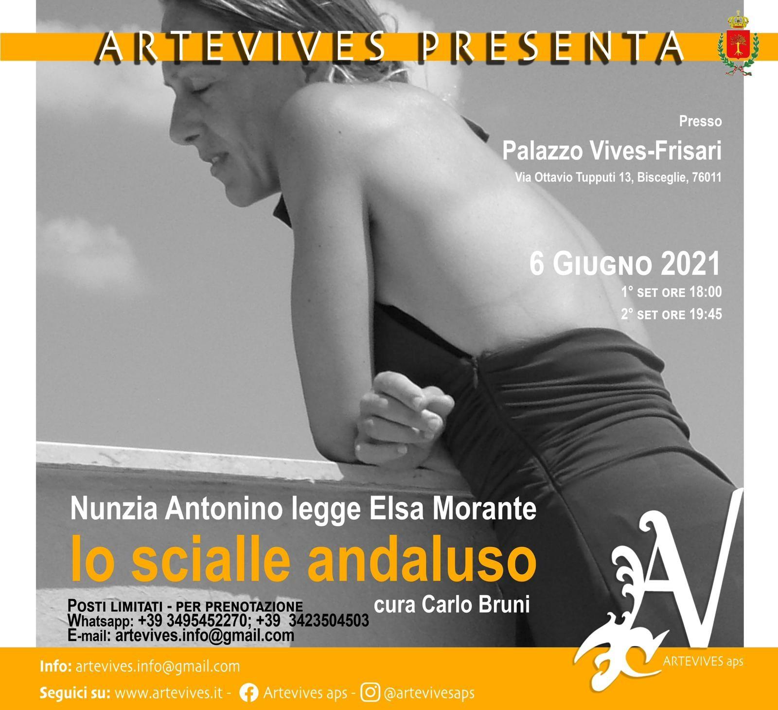 """ArteVives, domenica 6 giugno Nunzia Antonino interpreta """"Lo scialle andaluso"""" di Elsa Morante"""