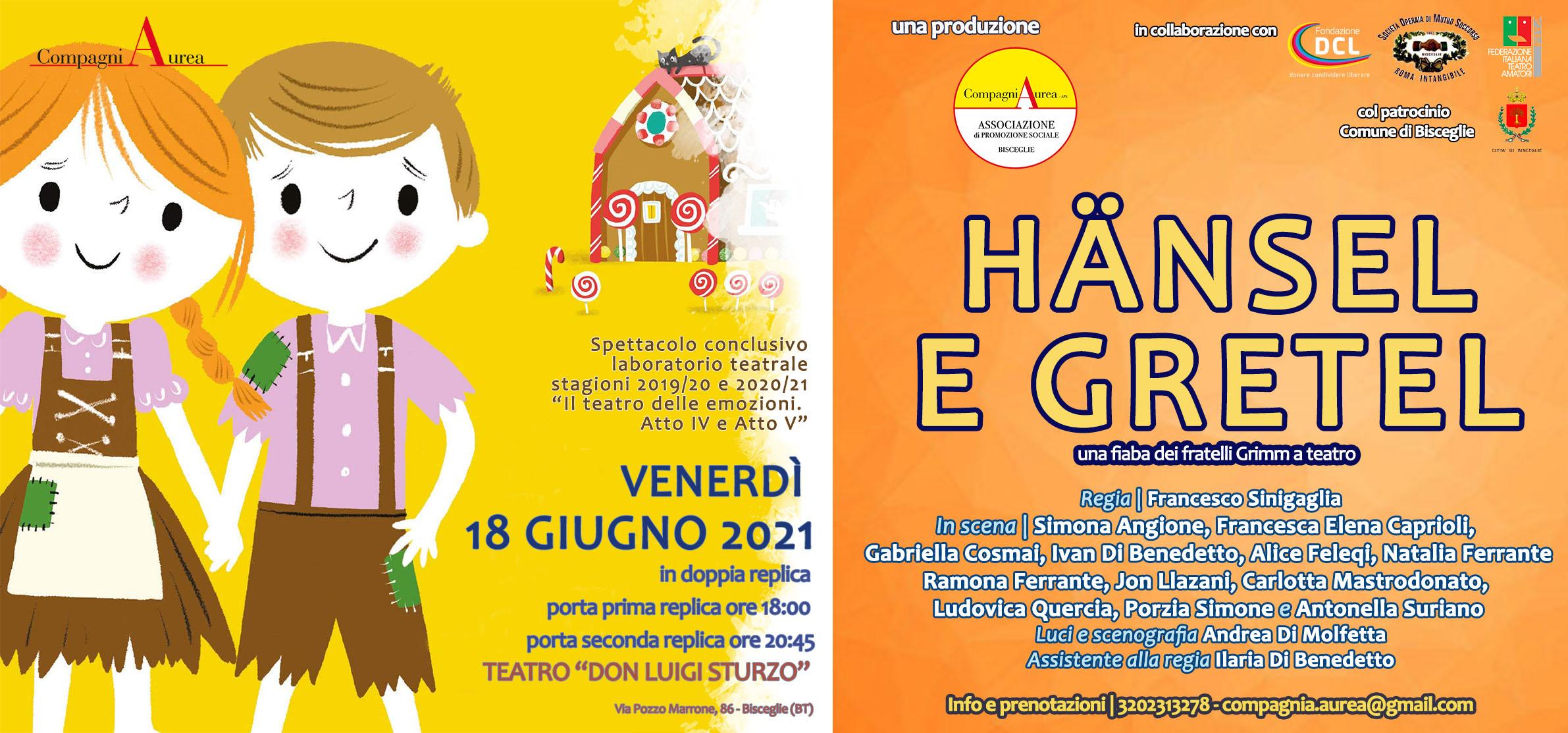 """Bisceglie – La CompagniAurea presenta """"Hänsel e Gretel"""""""