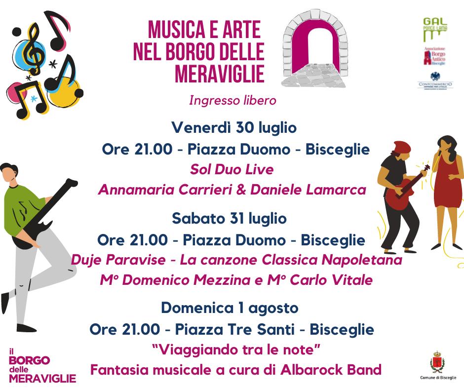 Il Borgo delle Meraviglie: musica nel weekend con Sol Duo, Duje Paravise e Albarock
