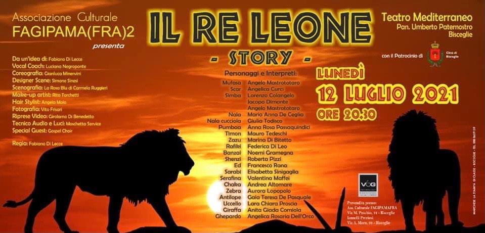 """FAGIPAMAFRA, in scena """"Il Re Leone Story""""  con la direzione di Fabiano Di Lecce"""