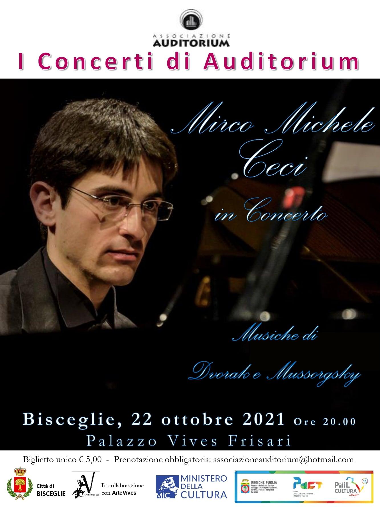 Bisceglie. Associazione Auditorium, venerdì 22 ottobre il concerto del pianista Mirco Michele Ceci a Palazzo Vives Frisari